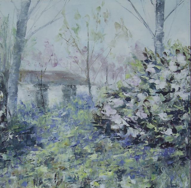 Bluebells & Pink Bush