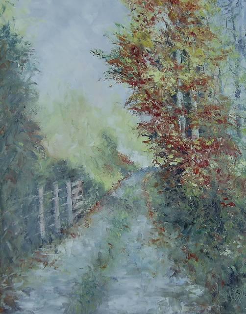 Lane with Bright Tree
